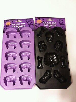Halloween Ice Cube Molds ( 2 Silicone Halloween  Ice Cube Trays Candy Molds Vampire Teeth & Skeleton)