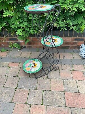 Vintage Wrought Iron 3 Tier Plant Stand Planter