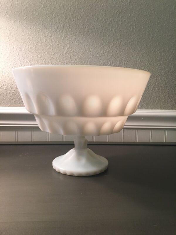 """Vintage Large White Milk Glass Pedestal Bowl, Farmhouse Decor 10"""" W X 7.5H"""