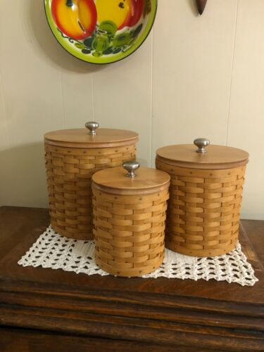 Longaberger Wicker Canister set, 2005 and 2007
