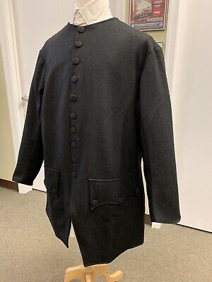 Mid-18th Century, Rev War Man's Frock Coat, BLACK WOOL, 40