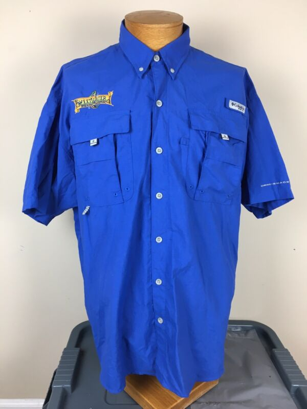 COLUMBIA PFG Blue SWEETWATER BREWING CO. Fishing Vented Shirt MEN'S Size Large L