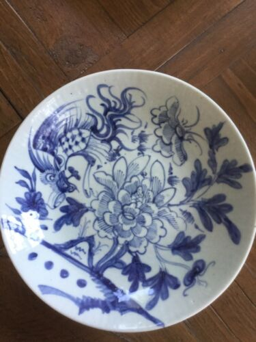 ANTIQUE CHINESE BLUE & WHITE  BOWL - floral