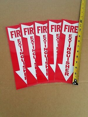 Fire Extinguisher Sign - Lot Of 5 Signs - 4 X 12 Vinyl Stick-on Arrow Sign
