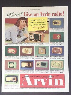 ARVIN 241 Radios Illustration Image art 1953 Vintage Print Ad