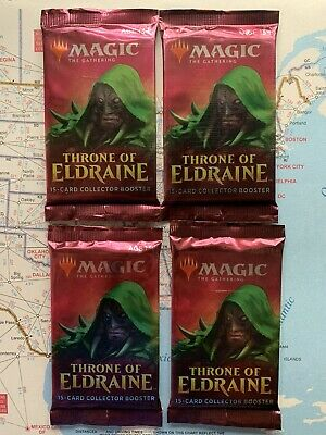 Lot of 4 Magic The Gathering MTG THRONE OF ELDRAINE Collector Edition Booster