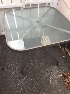 Grey Patio Table c/w glass