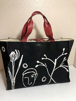 Kate Spade and Maira Kalman Tote Bag Black Red Leather XL 18x13x9 Man Woman