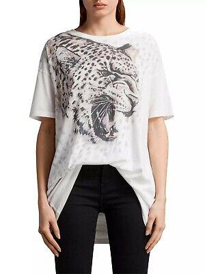 All Saints XS/S 6 8 10 12 T-shirt Tee Top White Animal...