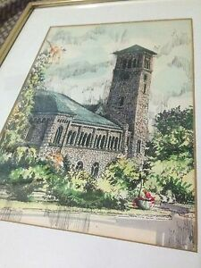 Queens university grant hall watercolour Fred shonberger