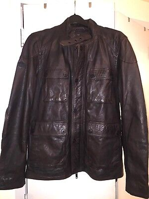 SUPERDRY PREMIUM LEATHER FIELD JACKET MOTO BOMBER COMBAT XL