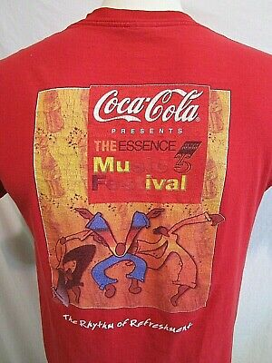 VTG 90's Coca Cola Real Essence Music Festival Red T Shirt Adult Size M