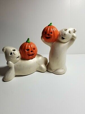 Vintage Ghost Pumpkin Jack O Lantern Tea Light Candle Holders Set Of 2