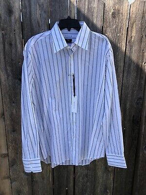NWT $250 Versace Collection City Dress Shirt White w/ Black Stripes Sz 43 17