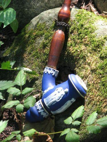 WEDGWOOD MID 19th XRARE JASPER PIPE DARK BLUE DIPPED ORIGINAL WOOD PART MUSEUM.!