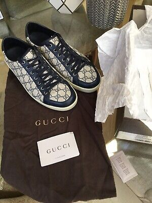 Gucci California Navy Fabric Leather Trainers Size UK 9