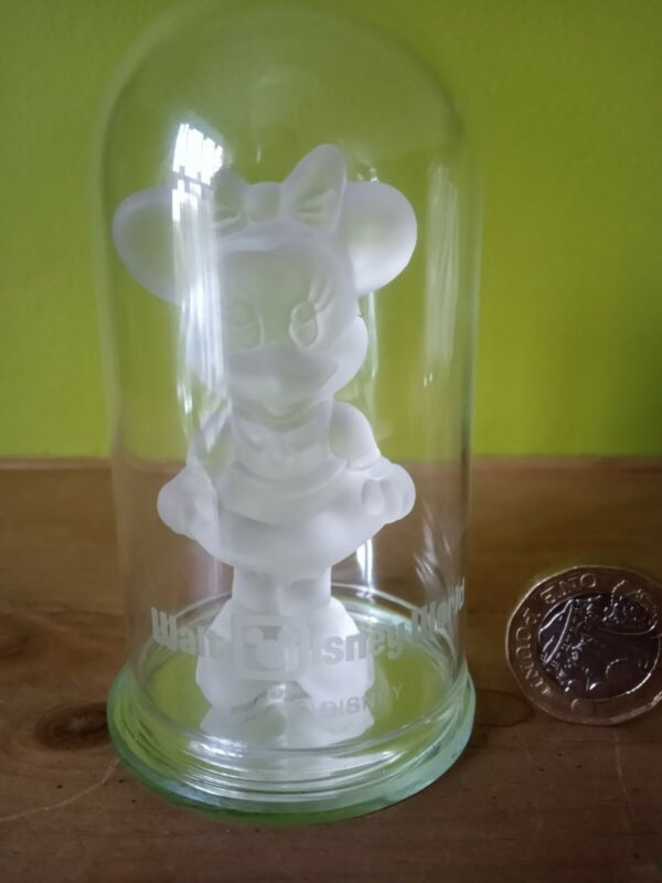 Minnie Mouse Frosted Glass figure  under a Cloche Disney World