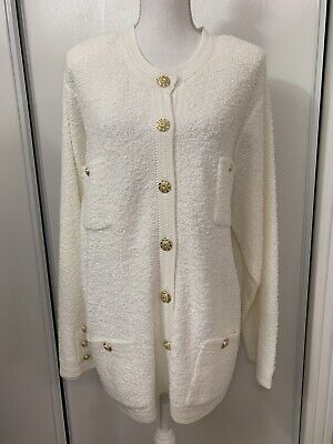 Vintage jacket/cardigan/coat white knit pockets gold buttons plus 2X for sale  Shipping to India