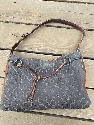 Authentic Vintage Gucci Brown Canvas Leather Hobo Purse Bag Horsebit Buckle M