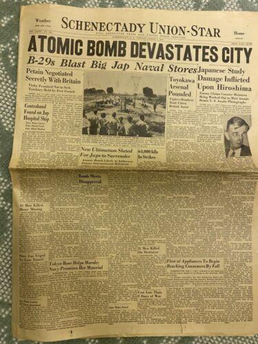 Original Atomic Bomb newspaper Aug 7th 1945