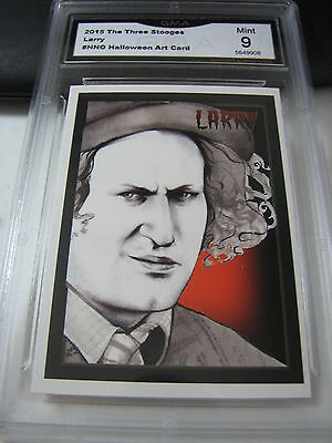 LARRY FINE 2015 CHRONICLES OF THE THREE 3 STOOGES HALLOWEEN ART GRADED 9 B - Three Stooges Halloween