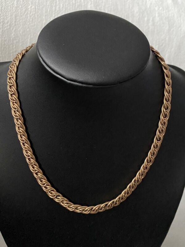 """Vintage 12kt Yellow Gold 1/20 Filled Chain Link Necklace 15"""" Long ~27 Grams~"""