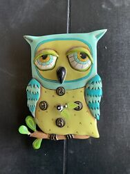Allen Designs Big Owl Wall Clock Hand Painted Whimsical Decor -Not Working