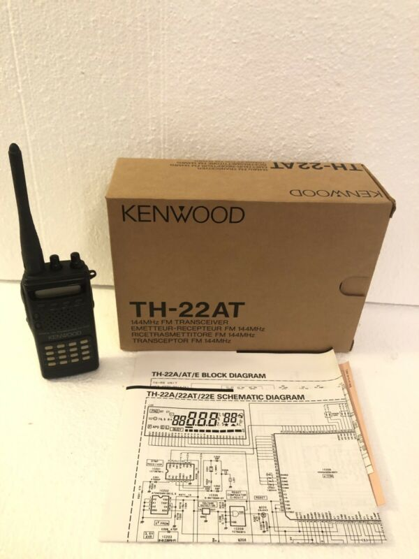 Kenwood TH-22AT, 2 meter handheld transceiver, Original Box Schematics No Chargr