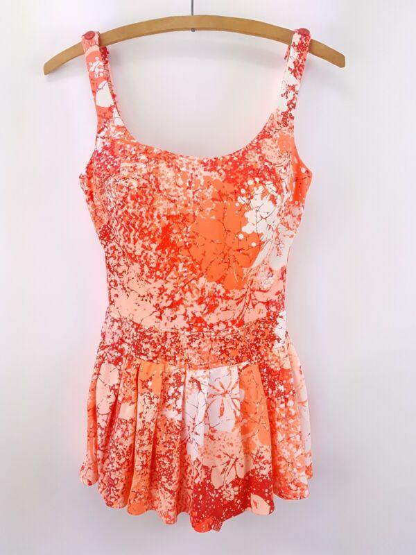 Vintage Catalina Skirt Swimsuit Bathing Suit Rockabill Pinup Size 10 Pink Floral