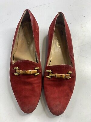 Gucci Women's Vintage Red Suede Bamboo Horse-Bit Loafers - 7.5 B/US