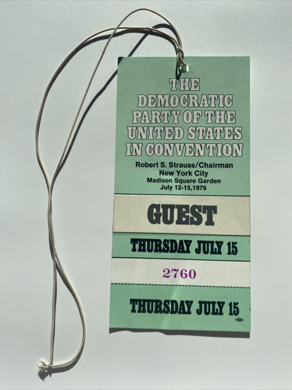 1976 Democratic National Convention Jimmy Carter Acceptance Speech Credential