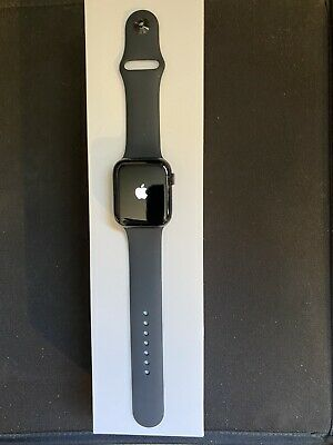 Apple Watch Series 5 Cellular 44mm Space Grey Aluminium Case Black Sport Band.