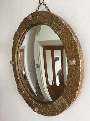 Vintage Round Convex Ball Wall Mirror Mid Century 1940s Retro Old Gold 36cm m168 36 Mirror Ball