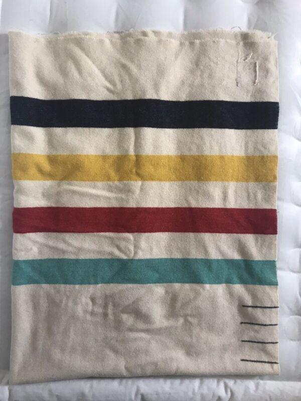 "Vintage Wool Trapper Blanket Hudson Bay Four Point 69"" X 88"" Full Size Original"