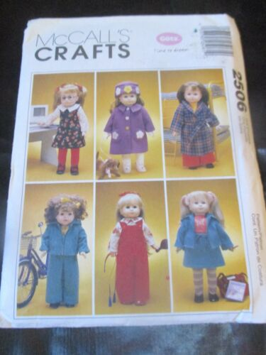 """UNCUT McCalls COATS OVERALLS CLOTHES FOR 18"""" DOLL & DOG Sewing PATTERN - #2506"""