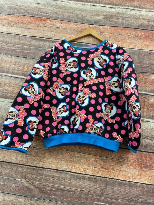 Vintage Womens 1980s Mickey Inc Reversible Minnie Mouse Pullover Sweater Pink
