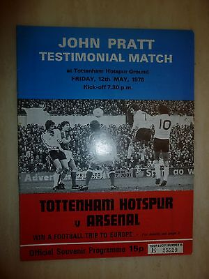 1978 JOHN PRATT TESTIMONIAL MATCH- TOTTENHUM HOTSPUR v ARSENAL