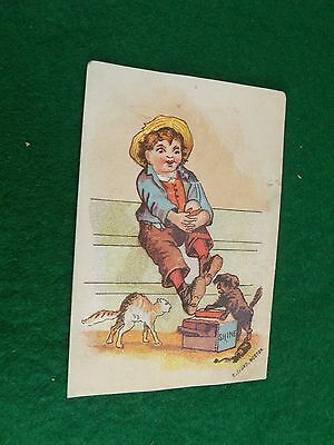 Victorian Card Anthropomorphic Dog Shoe-Shine Boy Hissing Cat Humorous