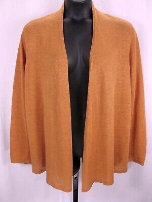 Eileen Fisher Woman Orange Linen Cardigan Sweater Size 1X Open Front Slubbed