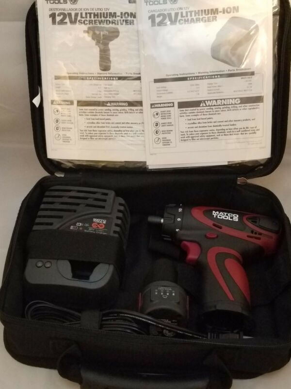 "MATCO TOOLS 12V 1/4"" Screwdriver MUC122S charger, case, One Battery Kit"