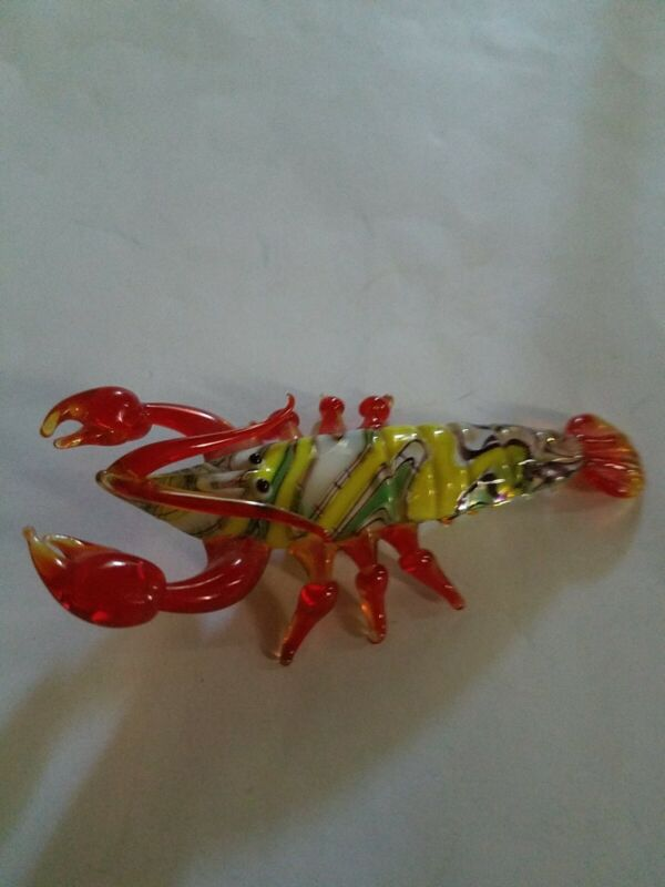 LOBSTER  Multicolor Blown Glass Figurine