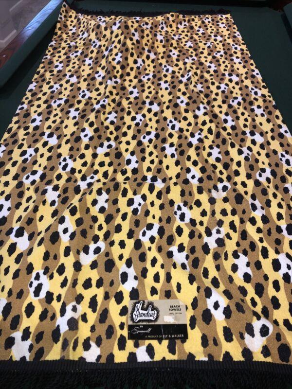 Vintage 70s Beach Towel Grandeur By Spunwell NOS All Cotton Leopard Print Fringe
