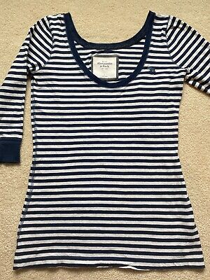 Womens Abercrombie and Fitch 3/4 Sleeve Blue White Stripe Shirt L