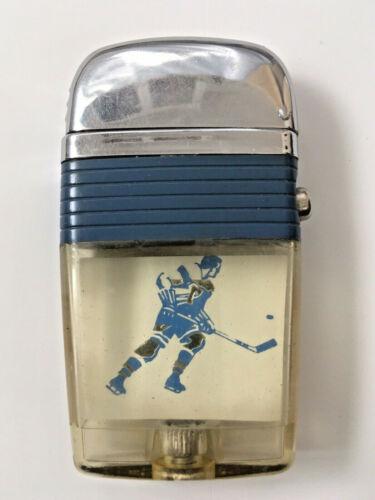 Scripto VU Vintage Lighter Ice Hockey Player Ready to Score
