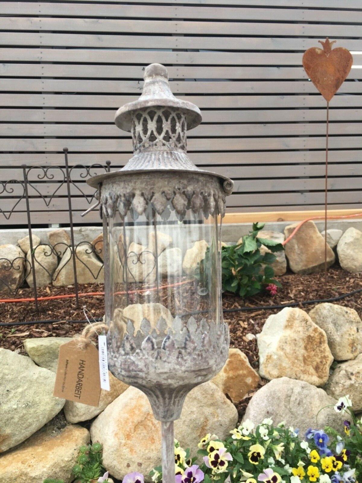 Gartenstab Laterne Antik Vintage Look Metall Windlicht Stablaterne Garten Handar