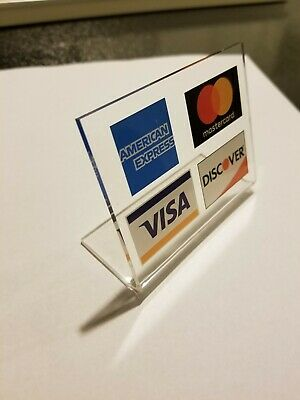 Visa Mastercard Amex Discover Credit Card Display Table Tent Counter Sign