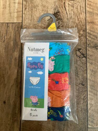 Brand New Nutmeg Kids Peppa Pig Boys Briefs 5 Pack Size 18-24 months