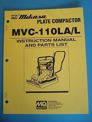 Mq Mikasa Plate Compactor Mvc-110lal Instruction And Parts List Manual
