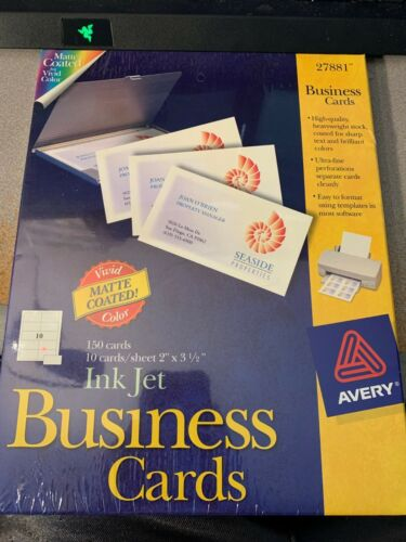 New AVERY 27881 Inkjet Business Cards Matte White 150 Cards 2 x 3 1/2 Inch