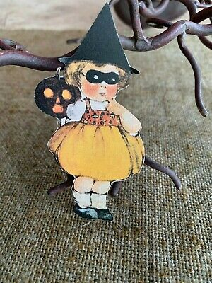 Repro Vintage 1900s Girl, Witch Hat Halloween Mask Mini Cardstock Decoration,4